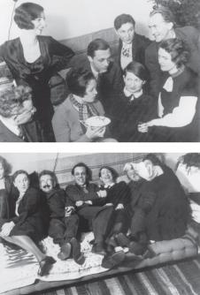 Benjamin, unknown woman, Carola Neher, Gustav Glück, Valentina Kurella, Bianca Minotti, Alfred Kurella and Elisabeth Hauptmann, in Berlin, Christmas 1931